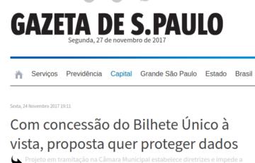 [Gazeta SP] Com concessão do Bilhete Único à vista, proposta quer proteger dados